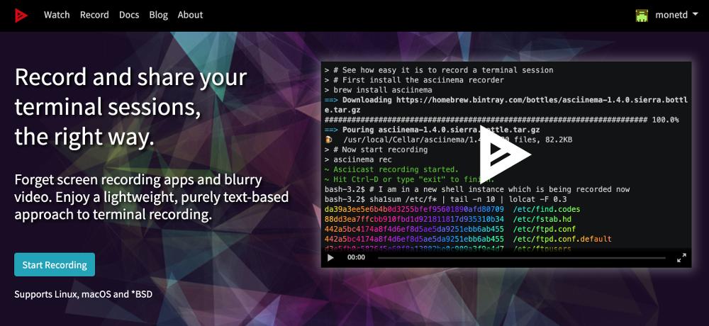 A screenshot of Asciiema.org
